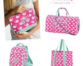 Personalized Monogram Duffel Bag, Travel Accessory Kit, and Tote Bag Pink and Aqua/Mint-Whales