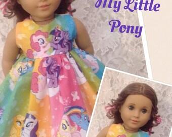 """Rainbow My Little Pony * Doll Dress fits 15"""" - 18"""" American Girl Bitty Baby My Twinn - sewnbyrachel"""