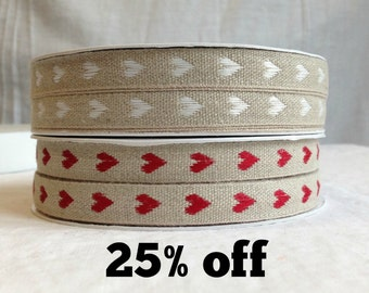 SALE 25% OFF - Natural Woven Linen Ribbon - Hearts - 3 metre length - Red Hearts / White Hearts