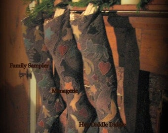 Pattern Hey Diddle Diddle Christmas Stocking Full Size Freezer Paper Pattern