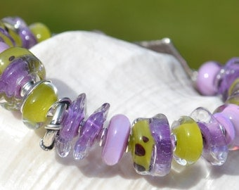 DELISH-Handmade Lampwork and Sterling Silver Bracelet