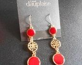 1 DAY SALE Carol Dauplaise Dangle Earrings, Americana Shell, Pierced Ears, Red, Gold Tone