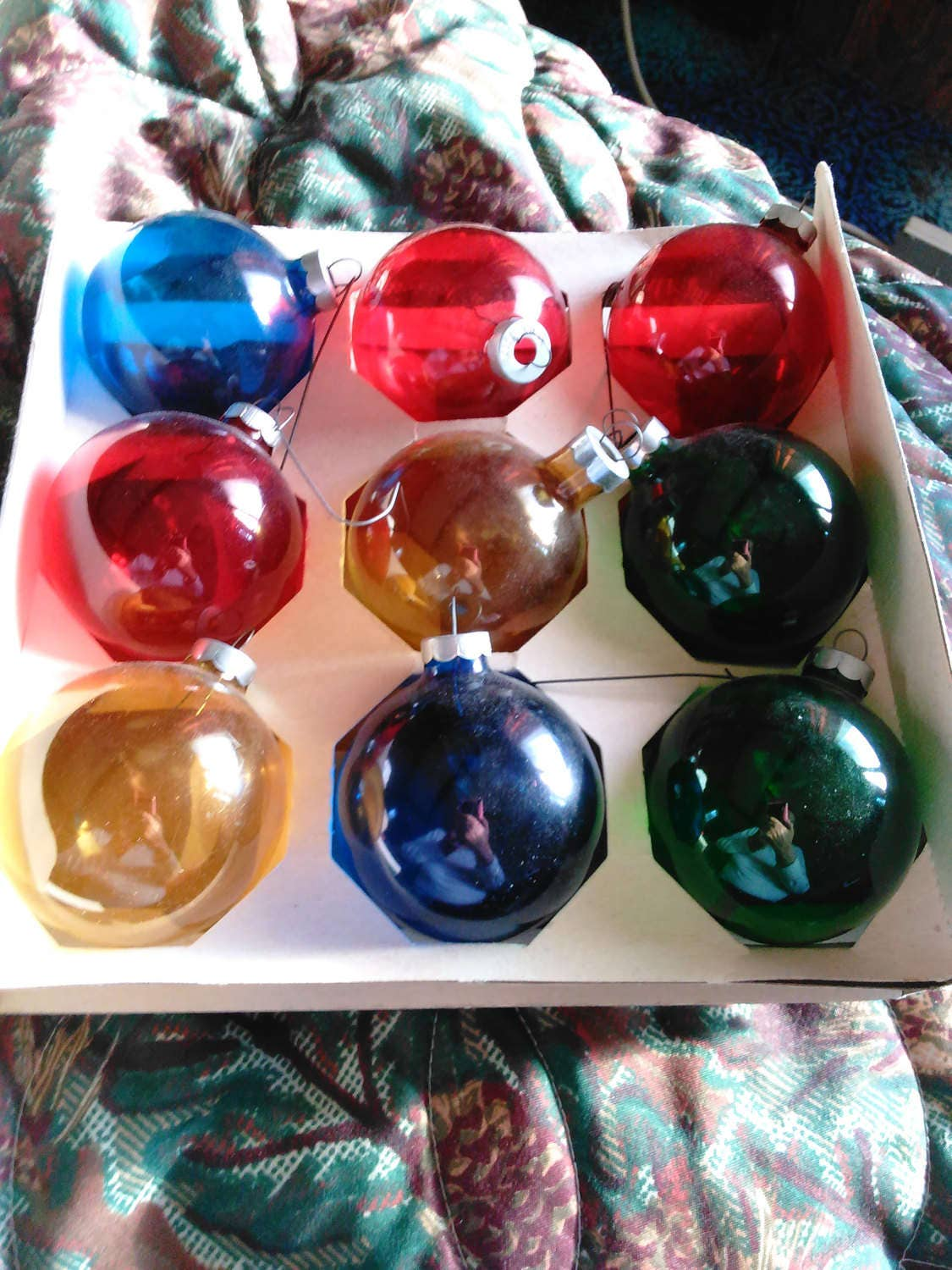 Coby Glass Christmas Tree Ornaments : Christmas ball ornaments coby glass amber blue green and