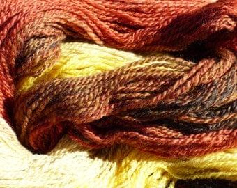 Handspun Wool Yarn.  Sunflower Gradient!