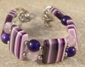 Pink and Purple Striped Bracelet