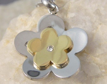Stainless Steel Two Tone Flower Necklace