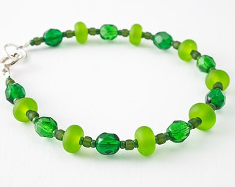 Green Glass, Lampwork and Silver Bracelet