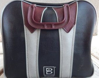 Vintage Burgundy Bowling Bag with Silver and Black