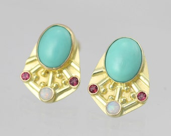 Oval Mexican Turquoise Byzantine Posts with Opal & Rhodolite Garnet 14ky gold