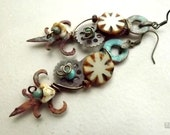 Steampunk earrings, rusty wire wrapped clock hands with gears, found object jewelry
