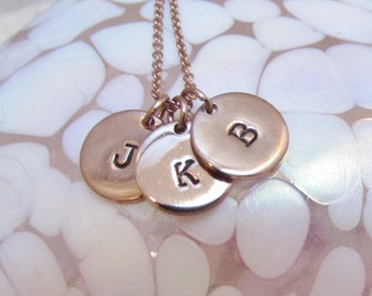 Mommy Initial Necklace in Rose Gold Grandmother Necklace Tiny Charm Monogramed Personalized Necklace