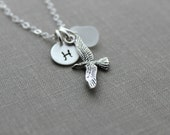 Sterling Silver seagull Charm necklace with genuine Sea Glass and Personalized custom initial charm, made to order, Gift for beach lover