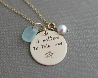 It Matters To This One,  Bronze and gold filled Starfish Necklace, Hand Stamped, White Swarovski Pearl, Genuine sea glass, seaglass jewelry