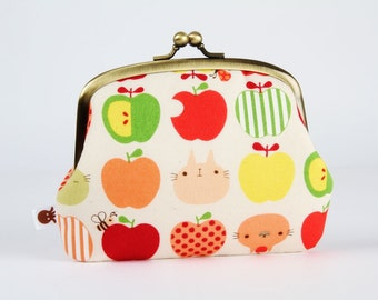 Metal frame purse with two sections - Apple and cats in spring - Pop up / Japanese fabric / peach pink green red yellow kitties