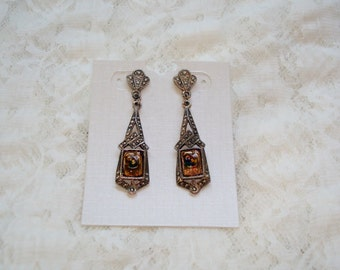 Vintage Antique Silver tone Post Dangle Earrings
