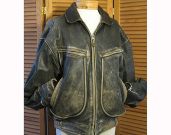 SPRING SALE!!! Vintage 1980s Banana Republic men's brown leather aviator motorcycle jacket