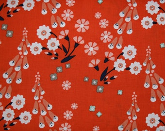 1/2 Yard of Floxglove Red Floral Organic Cotton Fabric from Cloud 9 Fabrics and Designer Aneela Hoey