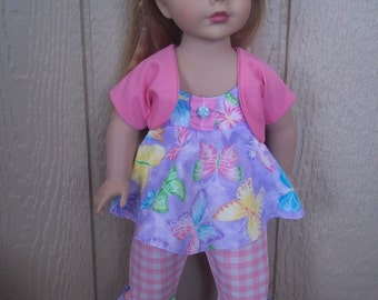 "Garden of Butterflies capris set for any 18"" doll"