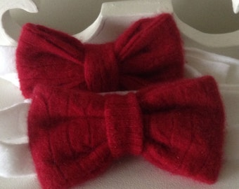 Raspberry Red 100% Cashmere Bow Tie, Valentine's Gift, Festive Season Gift, Father's Day Gift