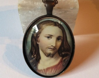 Lord Jesus  Glass Pendant Necklace 30 by 40 mm Oval in Gunmetal Finish Tray