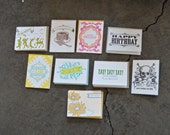 SALE - Birthday Letterpress Greeting Card Pack (Assorted) - 20 Cards And Envelopes