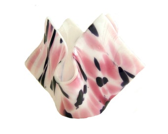 Candle Holder in Pink, Black, and White Speciality Art Glass. Use as a vase, candy dish, and more.