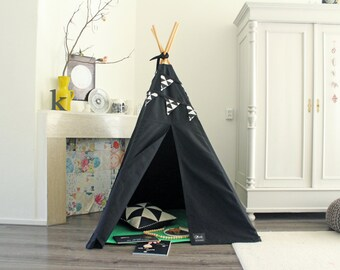 Teepee Tent | MIDI size | Black Canvas Drill | Black and White bunting col bunting