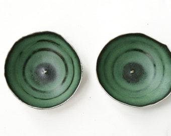 2 green black Hand built  porcelain Plates