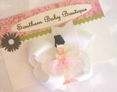 New Item----Boutique Toddler Girl Hair Bow Clip------BALLERINA-----Brunette---Blonde