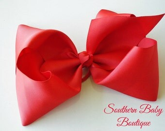 New---School Cheer Bow XX-Large 7 Inch Hair Bow---RED---Ready to Ship