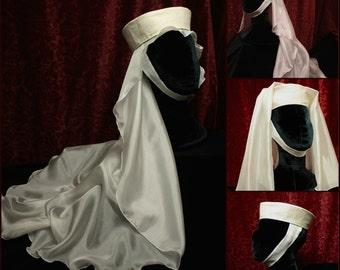 Oval Veil, wedding veil, sheer China Silk, Medieval headdress, Costume hat, Renaissance Faire hat, princess, SCA Garb LARP barbette, filet