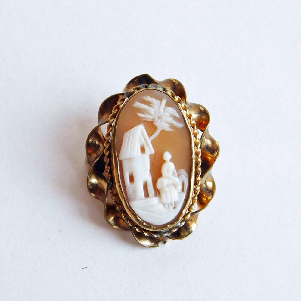 Custom Cameo Resin Pins Diy: Vintage Hand-Carved Carnelian Shell Cameo Brooch Rebecca