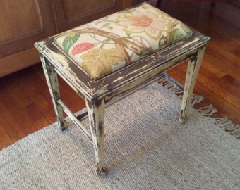 Vintage Upholstered Piano or Vanity Bench