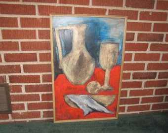 Vintage Mid Century Modern Large Framed Signed and Dated 1970 Original Still Life Painting
