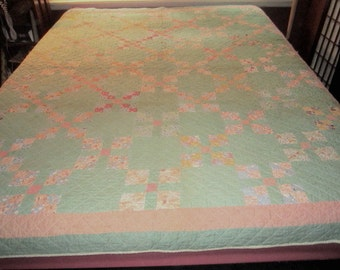 Vintage 1920s/30s Cotton Feedsack Nine Patch Quilt as found