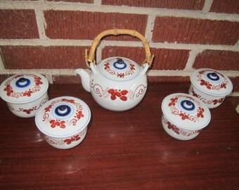 Vintage Perfect Hasami-yaki Hand Painted Japanese Porcelain Tea Set
