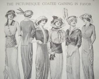 Coatee Fashion and Dressmaking 1913 Vintage Print