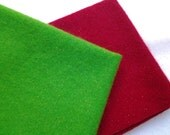 "Hand Dyed Felted Wool Fabric, HOLLY BERRY, Two 14"" x 16"" pieces in Christmas Red and Green with Gold Sparkles, READY to Ship"