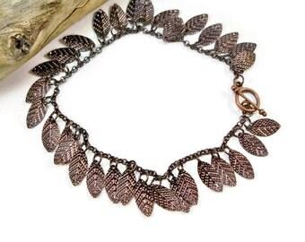 Dark Copper Bracelet, Copper Leaves, Charm Bracelet, Copper Chain Bracelet, Gift for Her, Mother's Day