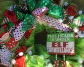 ELF SURVEILLANCE WREATH, large wreath on lime deco mesh wreath with red tulle, polka dot ribbon, elves- Christmas wreath, Elf Wreath