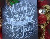 CHRISTMAS & Happy NEW YEAR chalkboard sign wreath, gorgeous christmas wreath, plaid ribbon, burlap ribbon- Christmas wreath, Chalkboard Sign