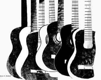 Black And White Guitars, Digital Art, Stringed Music Instrument, Musician Gift, Entertainment Home Decor, Wall Hanging, Giclee Print, 8 x 10