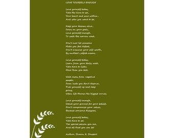 Poetry Art, Love Yourself Enough Poem, Inspirational Verse, Green White, Home Decor, Typography Wall Hanging, Giclee Print, 8 x 10