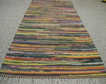 Handwoven Dark Bright Multi Rag Rug 25 x 67 (M)