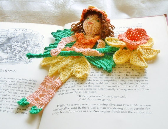 Daffodil Spring Fairy Amigurumi Crochet Pattern : daffodil fairy thread crochet bookmark pattern, spring ...