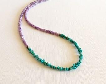 Necklace - Turquoise - Purple Cebu Heishi