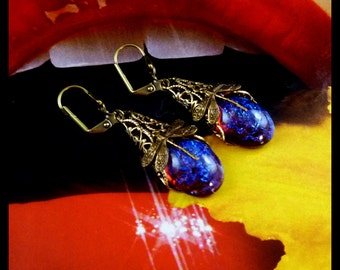 Vintage Art Decco Style Dragons Breath Fire Opal Earrings - FREE U.S. Shipping and Gift Tin