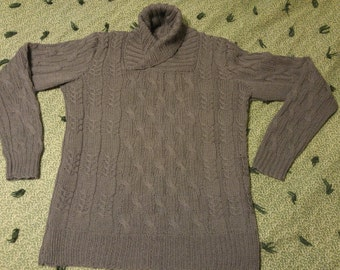 MADE TO ORDER Hand Knit Shawl Collar Cable Sweater Jumper for Men or Women
