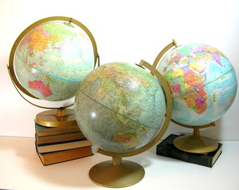 Vintage Globe Collection, Globemaster And Replogle, Set Of Three