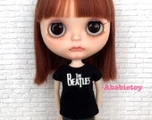 Black Cotton Jersey T-Shirt for Blythe - The Beatles